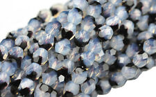 50 AUBERGINE MILKY WHITE FACETED ROUND GLASS BEADS 6MM