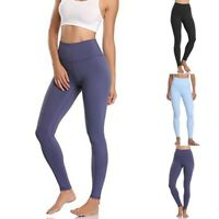 Women Solid High Waist Fitness Leggings Gym Workout Push Up Trousers Yoga Pants