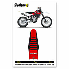 2009-2013 HUSQVARNA WR-CR 125 Black/Red/Black RIBBED SEAT COVER by Enjoy MFG