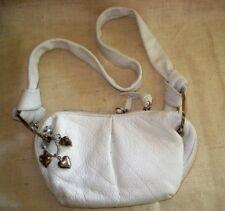 DIANE GAIL White Leather Mini Small Hobo Shoulder Purse Bag Handbag Heart Charms
