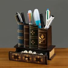 Wooden Pen Holder Multifunction Book Shaped Pencil Desktop Storage Organizer Box