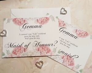 Will You Be My Bridesmaid Cards - Personalised COMPLETE with Envelope