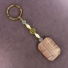 REDWOOD MARBLE STONE KEY CHAIN Hammered Ring Heart Gold Silver Seashell Heavy