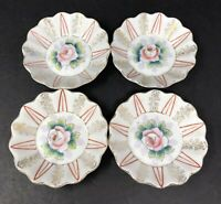 Set of 4 Vintage Hand Painted Coral Roses Porcelain Nut Dish Bowls Butter Pats