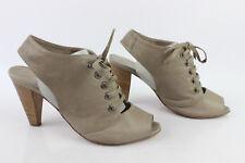 Zapatos De Salón Abiertos MINELLI En Piel Gris pardo Claro T 36 MUY BUEN ESTADO