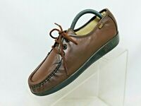 SAS Brown Leather Lace Up Moc Toe Comfort Ankle Casual Shoes Size 6.5 W