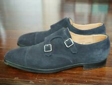 CROCKETT & JONES LOWNDES US 10 D UK 9 E DOUBLE MONK STRAP NAVY SUEDE LEATHER