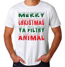Merry Christmas Ya Filthy Animal Funny Santa Mens New White Fun Costume T-Shirt