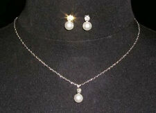 BRIDAL / BRIDESMAID PEARL& CRYSTAL NECKLACE & EARRING SET WEDDING JEWELLERY SET
