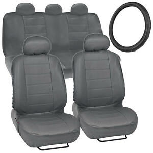 Car Seat Covers PU Leather Gray + Black/Grey Stitching Steering Wheel Cover