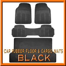 Fits 3PC FORD Edge Premium Black Rubber Floor Mats & 1PC Cargo Trunk Liner mat