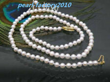 JAPANESE AAA+++ perfect  6-5 mm white akoya pearl necklace 14K  gold