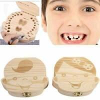 Kids First Tooth Box Storage Wooden Child Baby Milk Teeth Keepsake Box Organizer