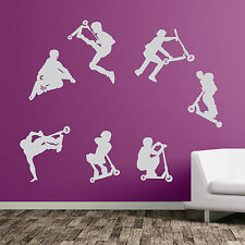 Stunt Scooter DIY Deco Decal Vinyl Stickers Decorative Kids Sports Wall A49 Red Small Set of 7