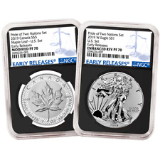2019 Pride of Two Nations 2pc Set NGC PF69 ER Flags Label Set U.S