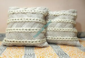 Indian Handwoven Kilim Vintage Yellow Cushion Cover Cotton Shaggy Pillow Throw