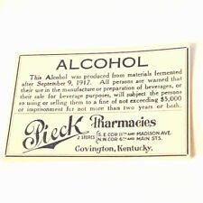 Pharmacy label ephemera paper WW1 drugstore Covington Kentucky Pieck Alcohol KY