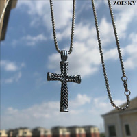 Zoesky Mens Silver Cross Pendant Necklace Chain Stainless Steel Jesus Bible