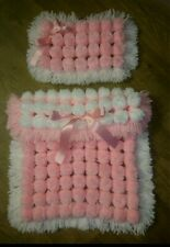 More details for dolls pram pompom blanket and pillow set size 12x14inches