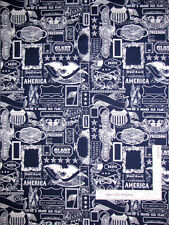 Patriotic USA Eagle Flag Blue Cotton Fabric Riley Blake Lost Found America Yard
