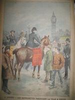 LONDRES SUFFRAGETTES A CHEVAL TAVAUX LYNCHAGE JOURNAL LE PETIT PARISIEN 1908