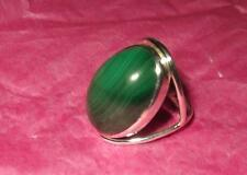 STUNNING NEW GREEN MALACHITE INDIAN 925 STERLING SILVER RING SIZE M 1/2 & BOX