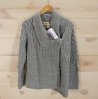 Aran Mor Ireland Women's M Sweater 100% Merino Wool Gray Asymmetric Button Cable