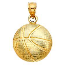 1gram Real Solid Beautiful Yellow Gold 14K Basket Ball Charm Pendant 14mmX14mm