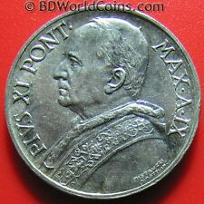 1930 VATICAN CITY 5 LIRE SILVER PIUS XI SHARP XF DETAILS! SAINT PETER IN A BOAT