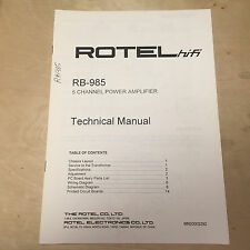 Rotel Service Manual for the RB-985 Amplifier Amp ~ Repair