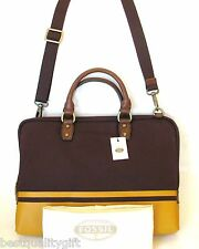 NEW FOSSIL ESTATE BURGUNDY RED CANVAS BRIEFCASE,CROSS BODY,HAND+VTY DOC+DUST BAG