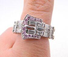 Estate Fresh Sterling Silver .925 Cubic Zirconia Pink Rhinestone Belt Ring Sz 7