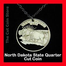 North Dakota 25¢ ND Quarter Cut Coin Jewelry American Bison Buffalo