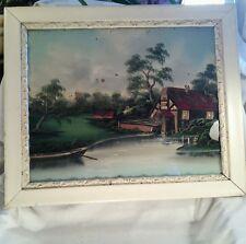 Vtg Reverse Painting on Glass shabby cream chic framed Mill on water landscape
