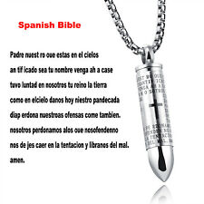 Men English Lord's Prayer Stainless Steel Bullet Cross Pendant Necklace Chain