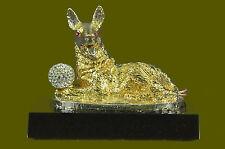 Art Deco Bronze Sculpture Statue Figure German Shepherd Dog 24K Gold Deco