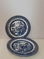 Set of 4 Blue Willow Dinner Plates Churchill England