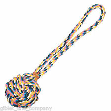 "MONKEY'S FIST KNOT ROPE DOG TOY 17""L - Cotton Knot Ball Fetch Tug Dog Toy"