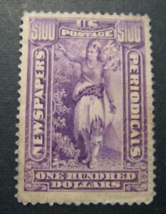 1896 US S# PR125, $100 purple, soft paper, wmk. Newspaper Used f+