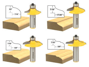 "Door and Drawer Front Edging Router Bit Set - 1/2"" Shank - Yonico 12401"