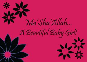 Ma Sha Allah its a baby Girl Greeting Card Muslim Islam