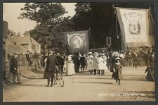 Postcard Lyndhurst New Forest Hampshire village Sunday Parade banners 1911 RP