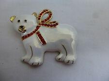 Gilt Metal,White Enamel,Xmas Polar Bear Pin