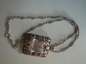 RS0418-212: Silber Jugendstil Anhänger wohl Bergkristall mit 835er Silberkette