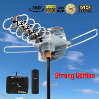 150 Mile Outdoor TV Antenna Motorized Amplified HDTV 1080P 4K 36dB 360° Rotation