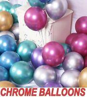 "20pcs METALLIC LATEX PEARL CHROME BALLOONS 5""10""12""18"" Helium Baloon Birthday UK"