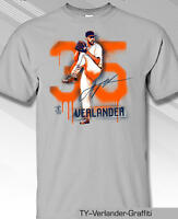 Houston Astros MLBPA JUSTIN VERLANDER Graffiti Youth Boys Cotton Tee Shirt Gray