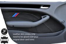 Grey stitch M à rayures 2X Porte Carte Cuir Housse Pour BMW E46 Saloon 98-05