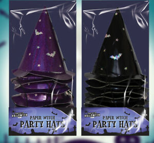 New 16 PK Halloween Paper Witch Party Hats BLACK/PURPLE With Elasticated String