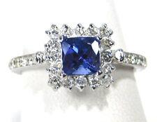 Women's Tanzanite Ring 14K White Gold Over Halo Engagement Wedding Ring